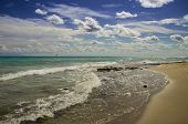 Summertime. The Most Beautiful Sand Beaches Of Apulia: Salento Coast. Italy (lecce). It Is A Vast Sa poster