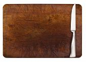picture of cutting board  - Stainless steel cutting knife on wooden board with copy space - JPG
