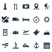 Traveling Icons Set With Suv, Roads, Mountains And Other Guide Elements. Isolated Vector Illustratio poster