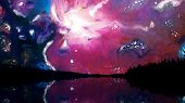 Sky With Colour Galaxy. Picturesque Animation Of Night Sky In Mountains With Reflection In Lake. Wat poster