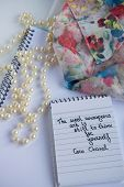 Coco Chanel Quotes Written On A Block Note, Pearl Accessories And  And Silky Flower Shirt ,inspirati poster