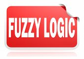 Fuzzy Logic Red Square Banner, 3d Rendering poster