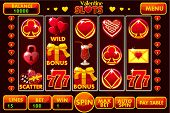 Vector Interface Slot Machine Style St. Valentine In Red Colored. Complete Menu Of Graphical User In poster