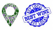 Vector Collage Of Grape Wine Local Place And Grunge Seal For Best Wine. Local Place Collage Formed W poster