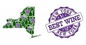 Vector Collage Of Grape Wine Map Of New York State And Grunge Stamp For Best Wine. Map Of New York S poster