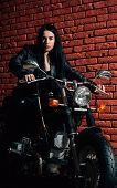Riding Motorcycle. Sexy Woman Riding Motorcycle. Woman Biker Riding Motorcycle. Girl Riding Motorcyc poster