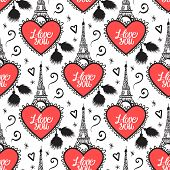 Heart With Lace And Eiffel Tower. Seamless Pattern. Vector Illustration. Velentines Day Design. I Lo poster