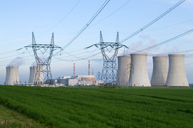 picture of power lines  - Nuclear power station Dukovany Czech Republic  - JPG