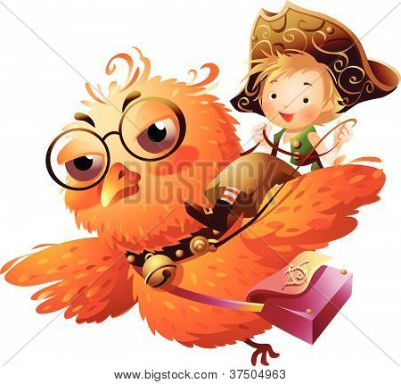 Boy riding an owl