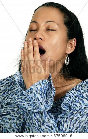Hispanic Woman Yawning