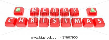 Merry Christmas Written In White On Red Computer Keys