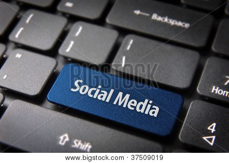 Blue Keyboard Key With Social Media Words