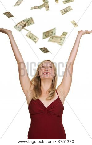 Beautiful Blond With Money Fallin Down On Her