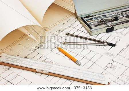Technical Drawings And Slide Rule