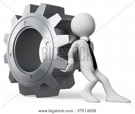 3D Businessman White People. Businessman Pushing A Gear