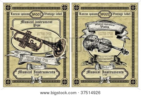Vector set vintage labels - Musical Instruments