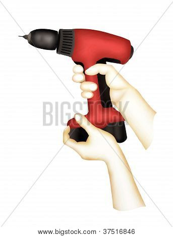 Hand Holding A Cordless Drill for Home Improvement