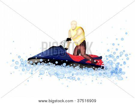Jet Boat : Man Riding A Jet Ski on The Water