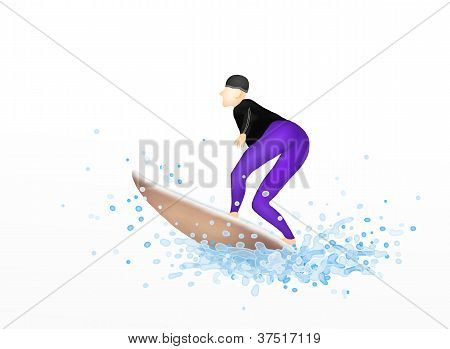 Young Female Surfer on A Surfboard Blasting Through A Wave