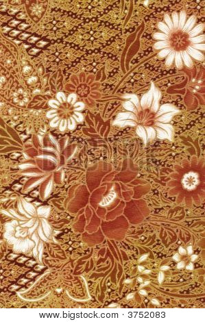 Golden Batik Sarong With White Flowers