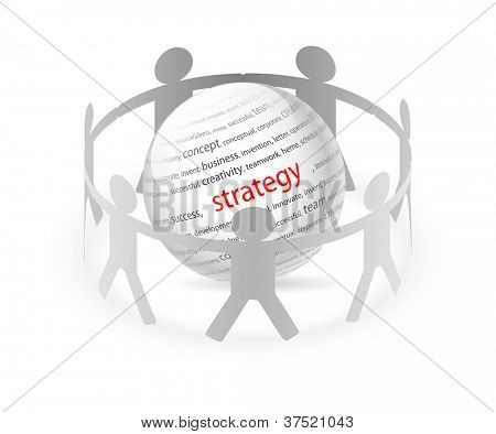 Illustration of paper people around business strategy. Vector.