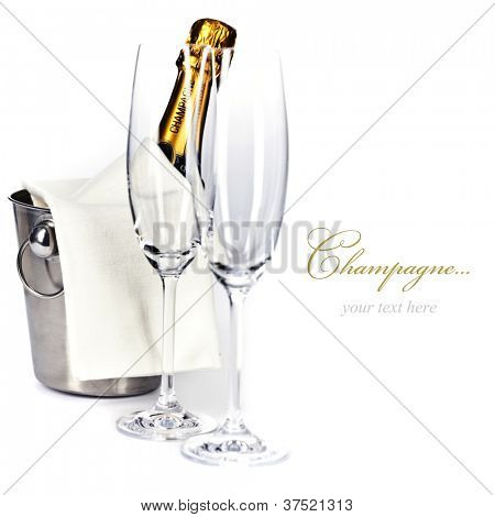 Champagne bottle in cooler and two champagne glasses (with easy removable sample text)
