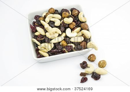 Trail mix on white