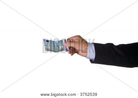 A Business Man With Five Euro In His Hand