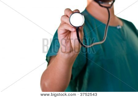 A Doctor With A Stethoscope In His Hand Health