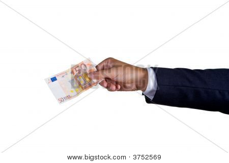 A Business Man With Ten Euro In His Hand