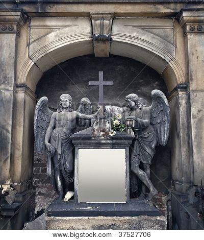 Ornate cemetery angel statuary