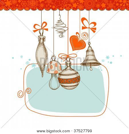Retro Christmas background, hanging decorations vector illustration
