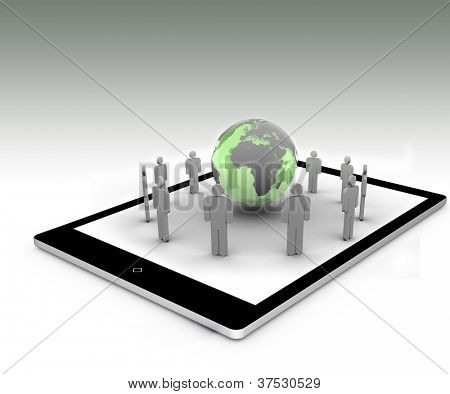 Stick figures standing around the green globe on a tablet pc