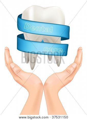 white tooth with a blue ribbon in hand. vector