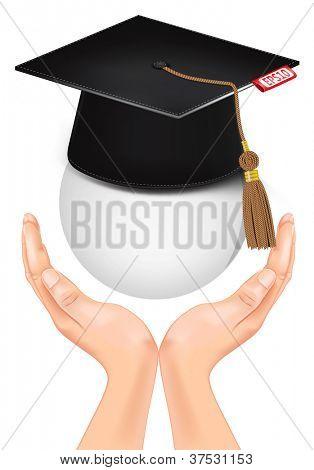 Graduation cap in hand. Vector