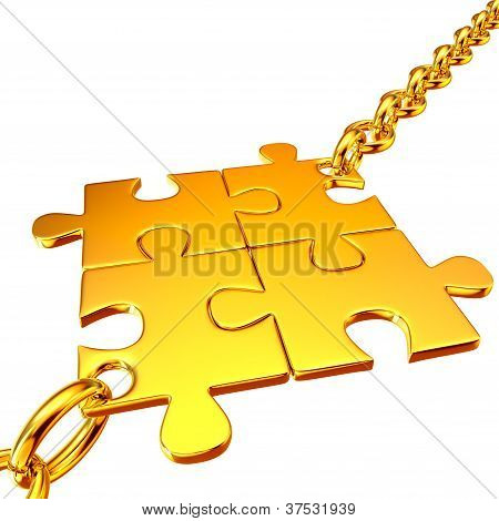Gold chains with the collected puzzles