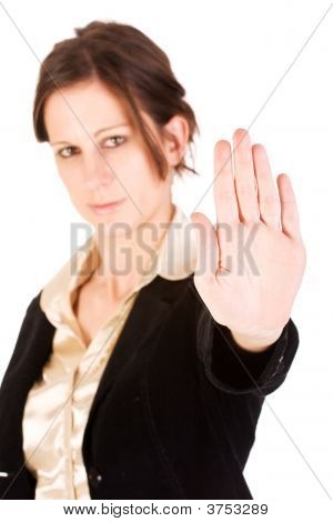 Young Adult Female Motioning To Stop