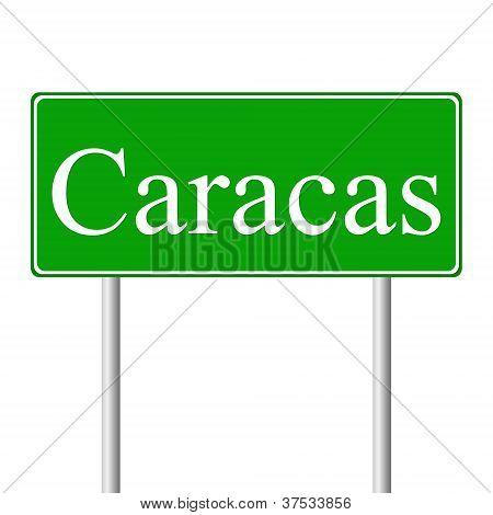 Caracas green road sign