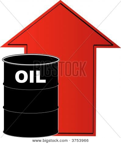 Barrel Oil W Rising Arrow Behind.