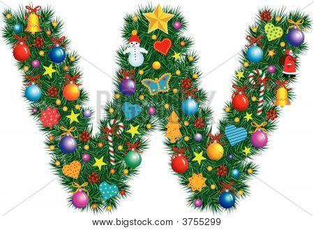 Alphabet Letter W - Christmas Decoration