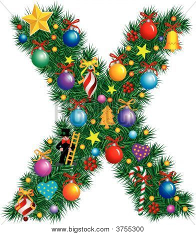 Alphabet Letter X - Christmas Decoration