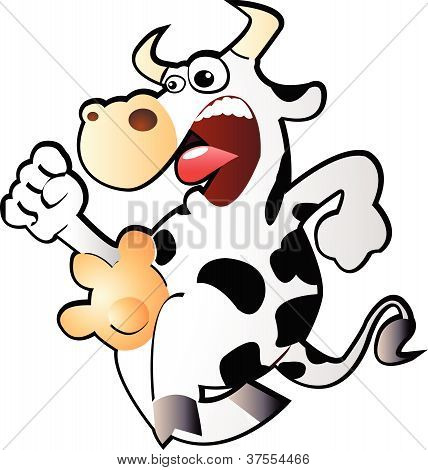 Funny running cow