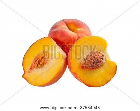 Ripe Peach, Whole And Half