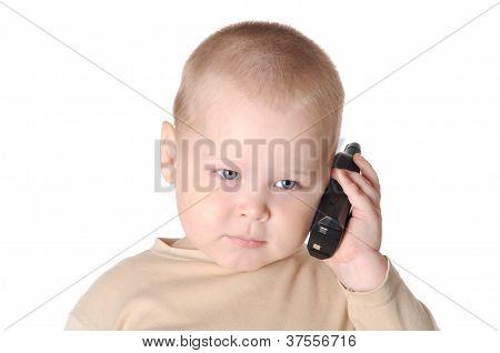 kleiner Junge mit Telefon