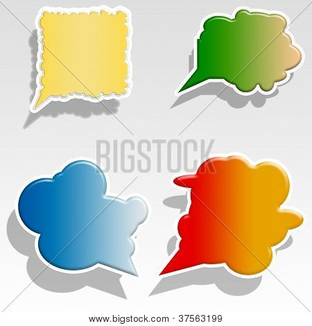 Colorful paper bubble for speech