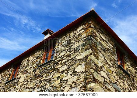 Detail of a little schist house at Portugal