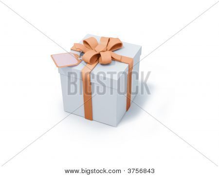 White Present Box With Orange Ribbon