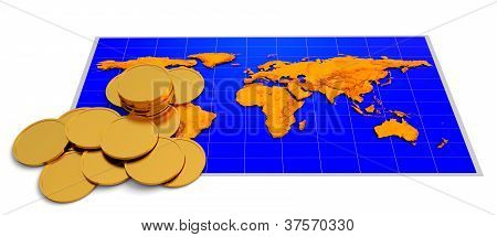 Coins And Map