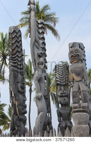 Carved Tiki Statues in Hawaii
