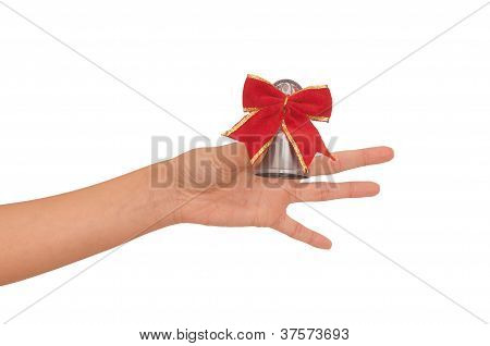 hand bell with red bow